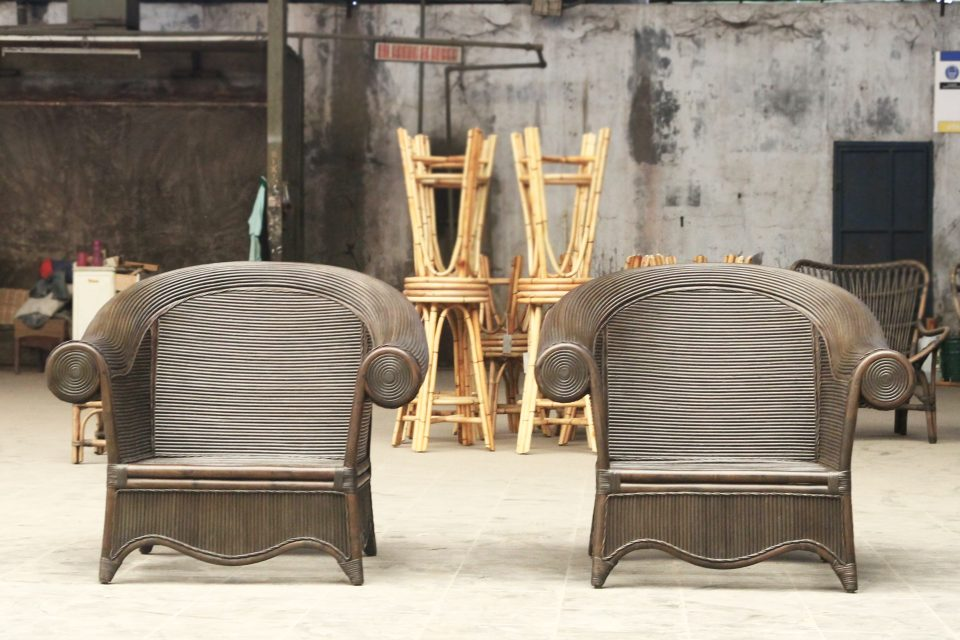 Resort style cane armchairs