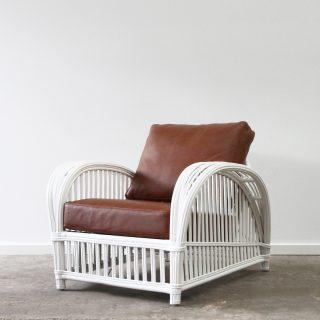 Rattan armchair leather