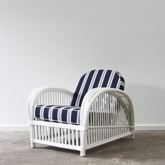 white cane armchair