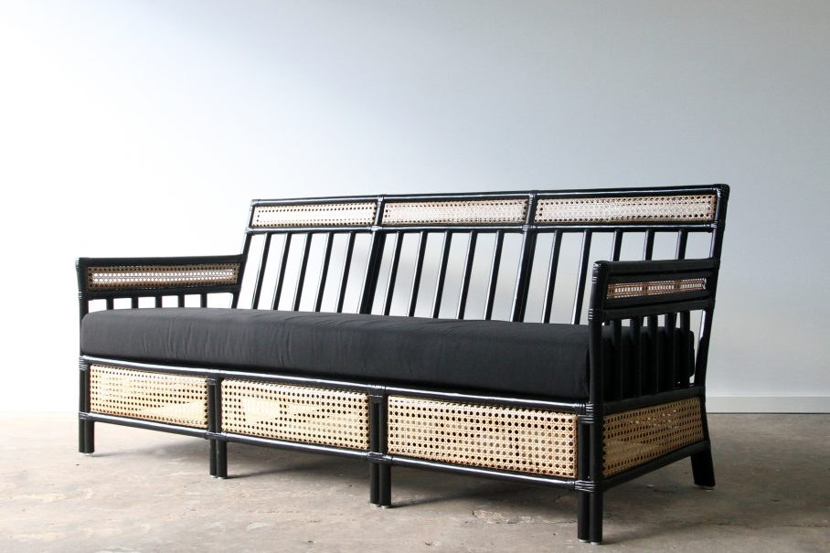 Rattan Lounge with open weave cane