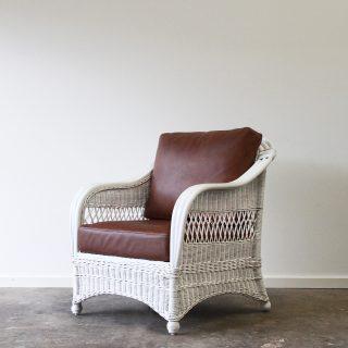 Woven wicker armchair white