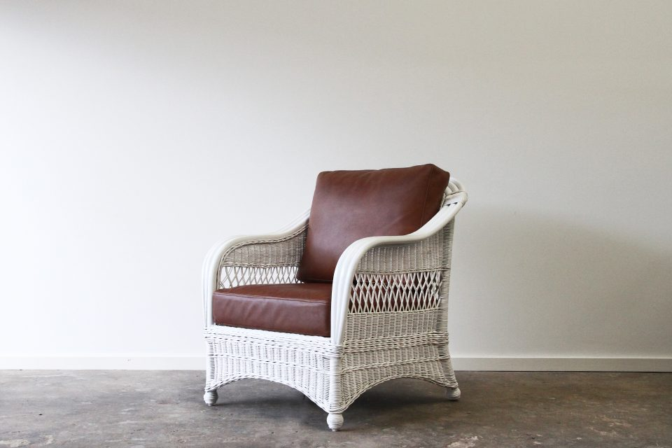 Woven wicker armchair white