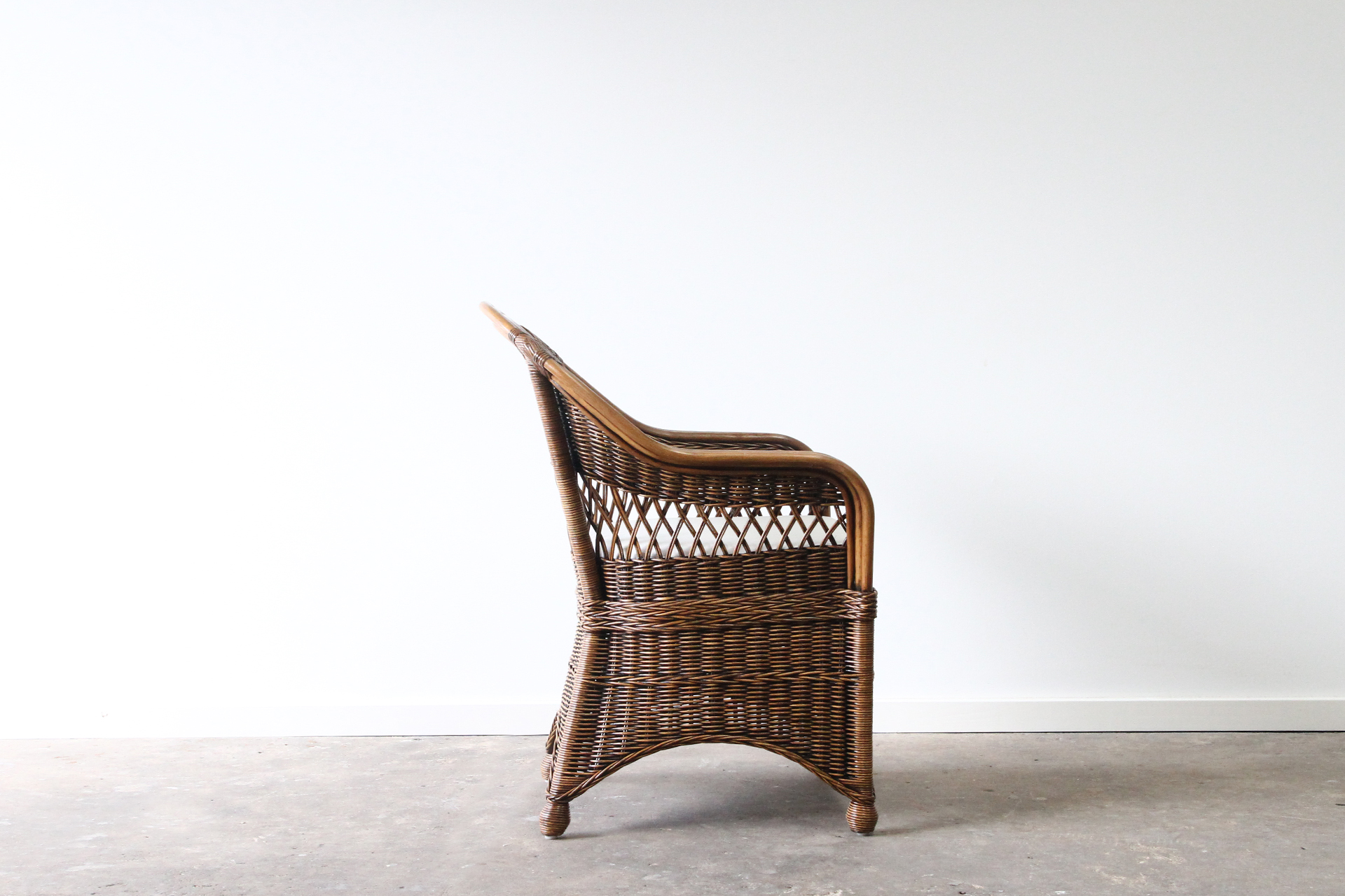 woven cane carver chair