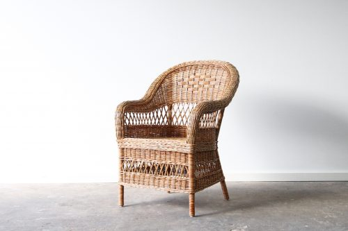 Woven cane dining chair
