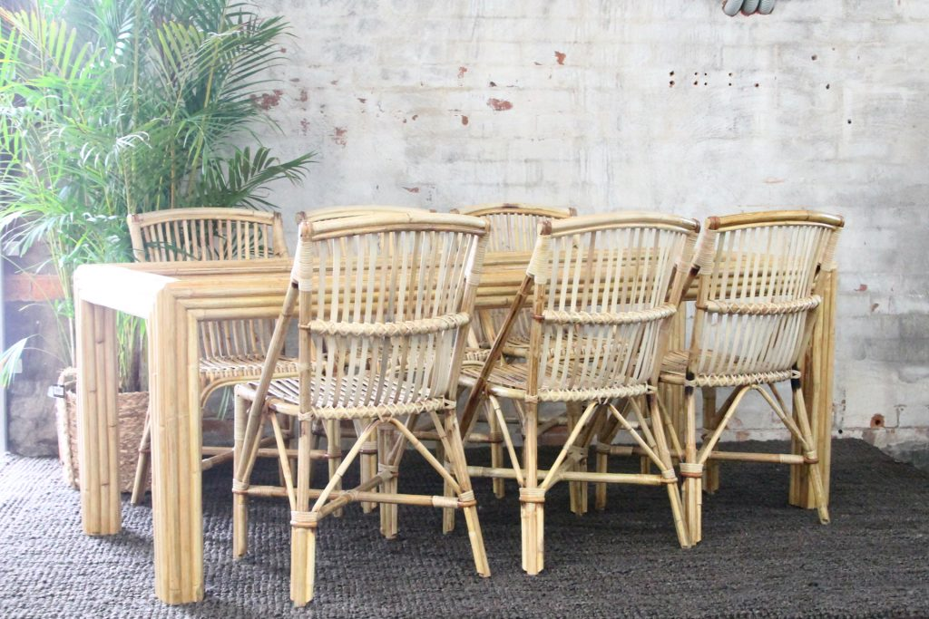 Split cane side chairs