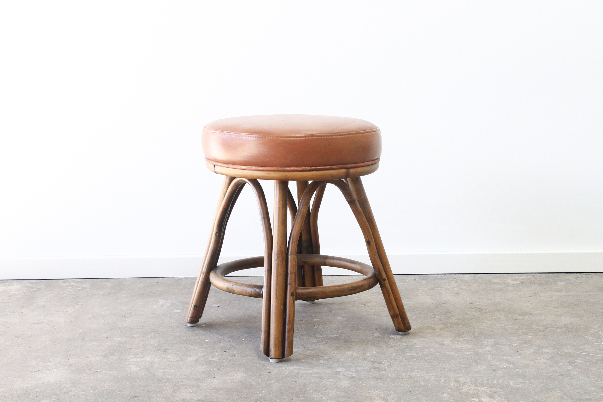 Leather and Rattan stool