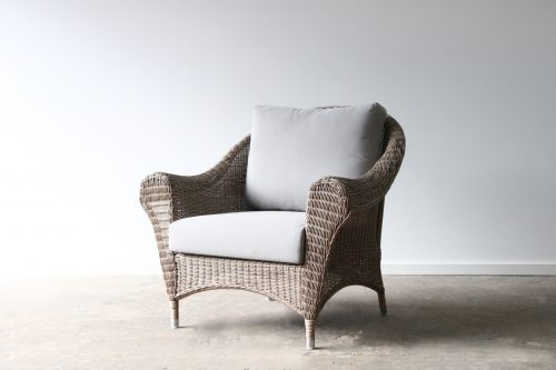 Outdoor wicker armchair