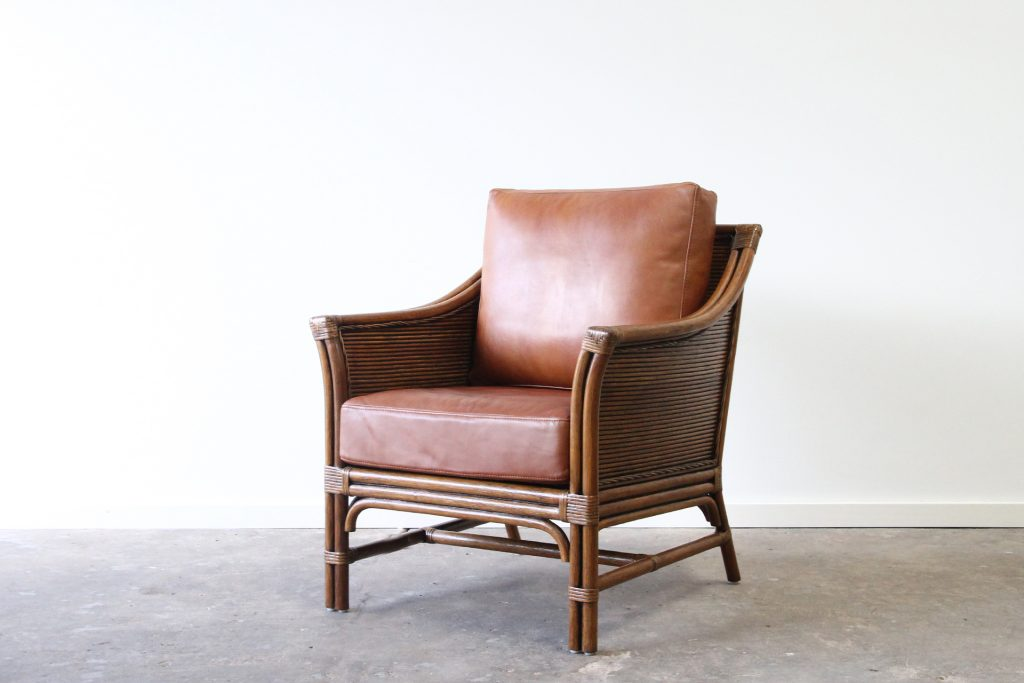 Rattan armchair leather