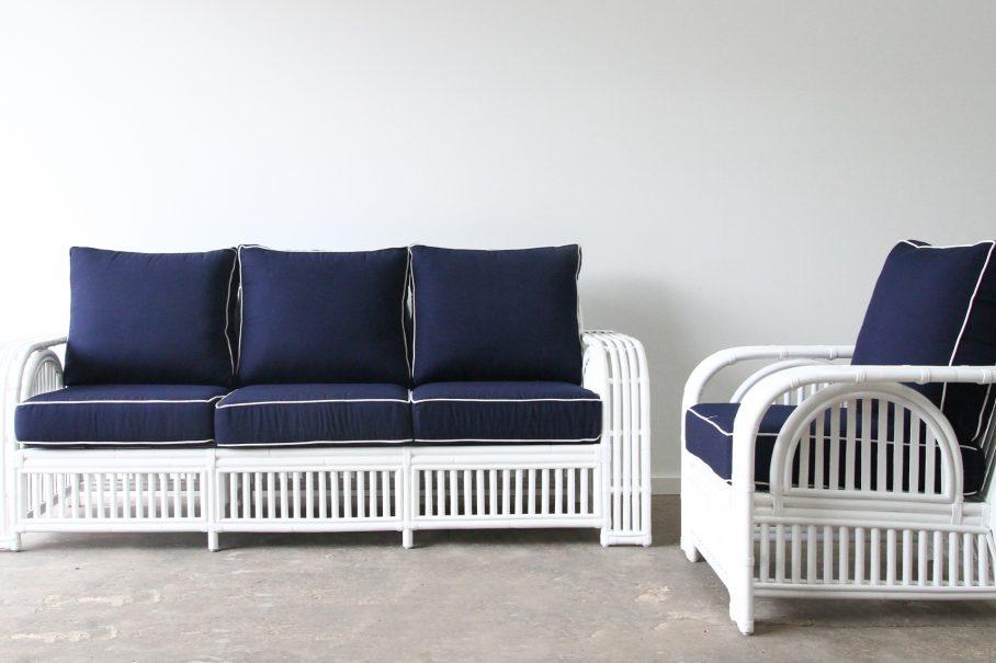 Rattan lounge suite Sunbrella White