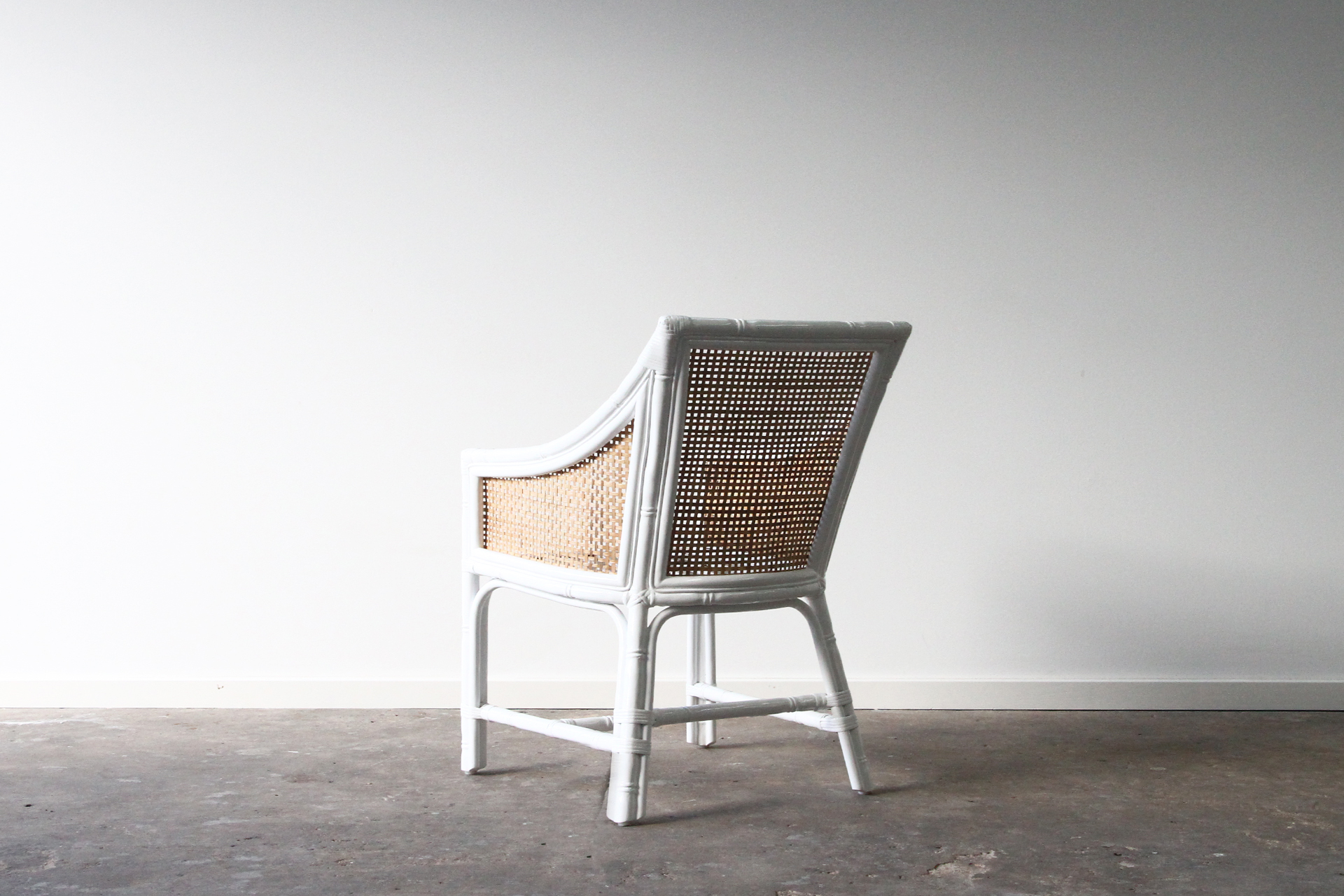 Rattan white cane dining chair
