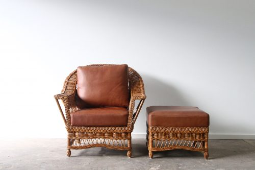 Leather armchair and ottoman