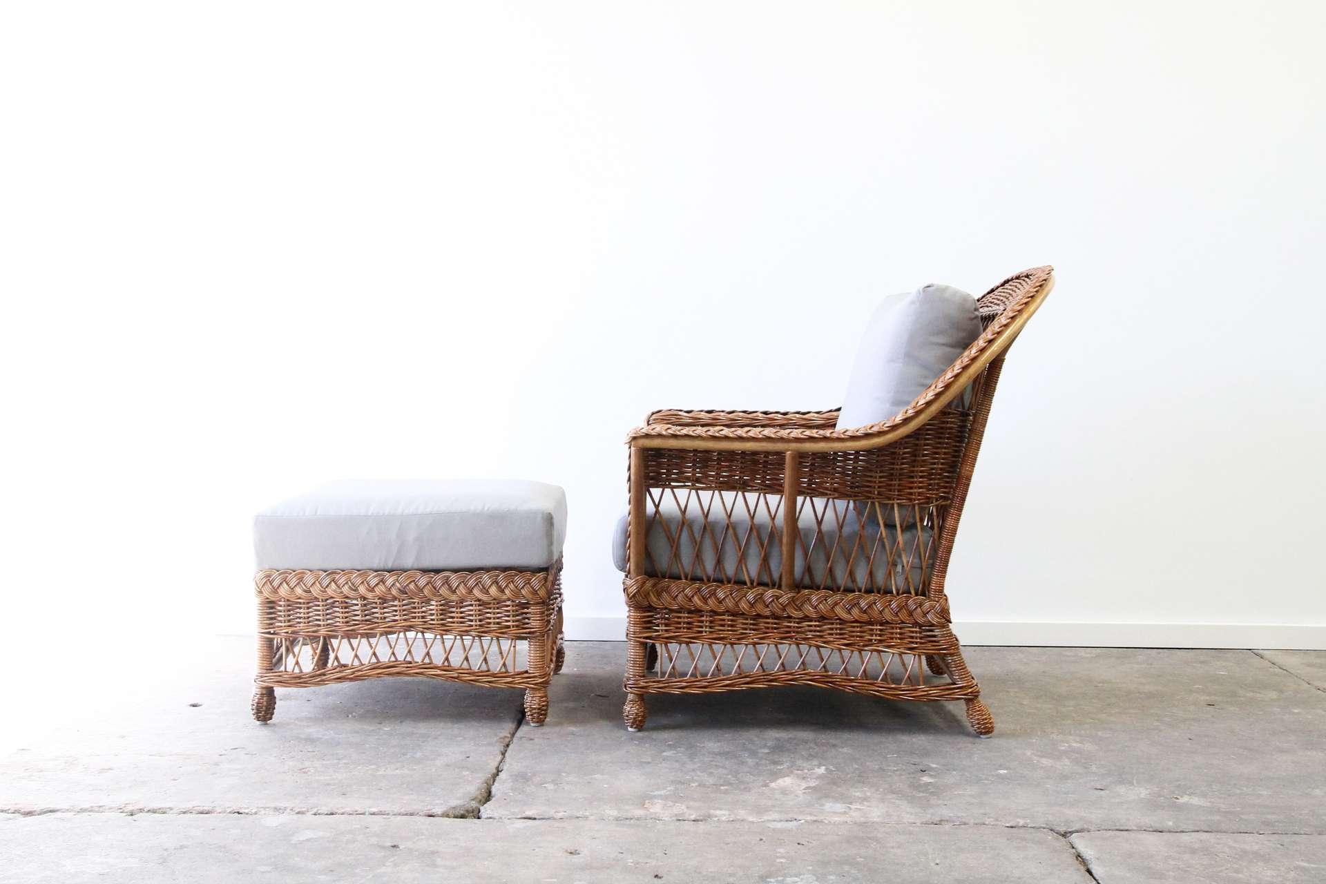 Rattan chair and ottoman