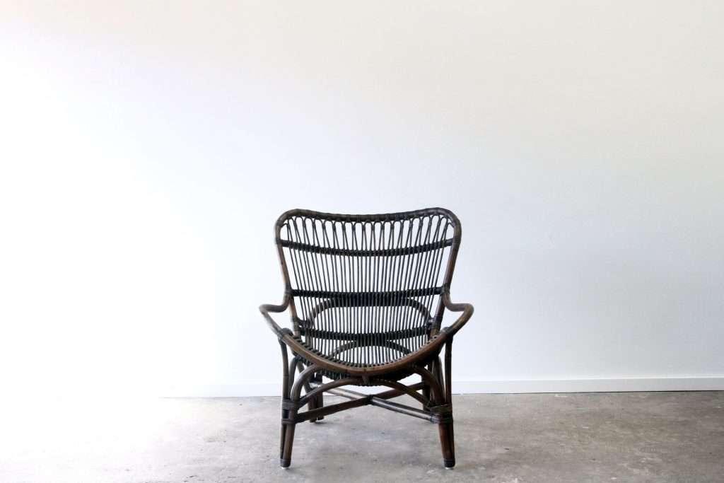 Rattan wing armchair