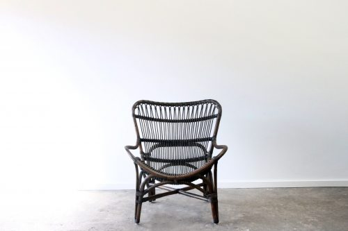 Rattan wing armchair