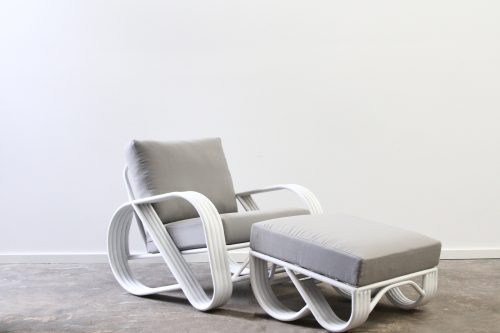 Pretzel armchair with ottoman outdoor aluminium
