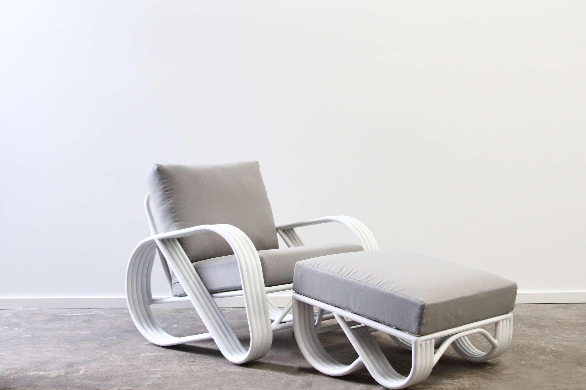 Pretzel armchair with ottoman outdoor aluminium