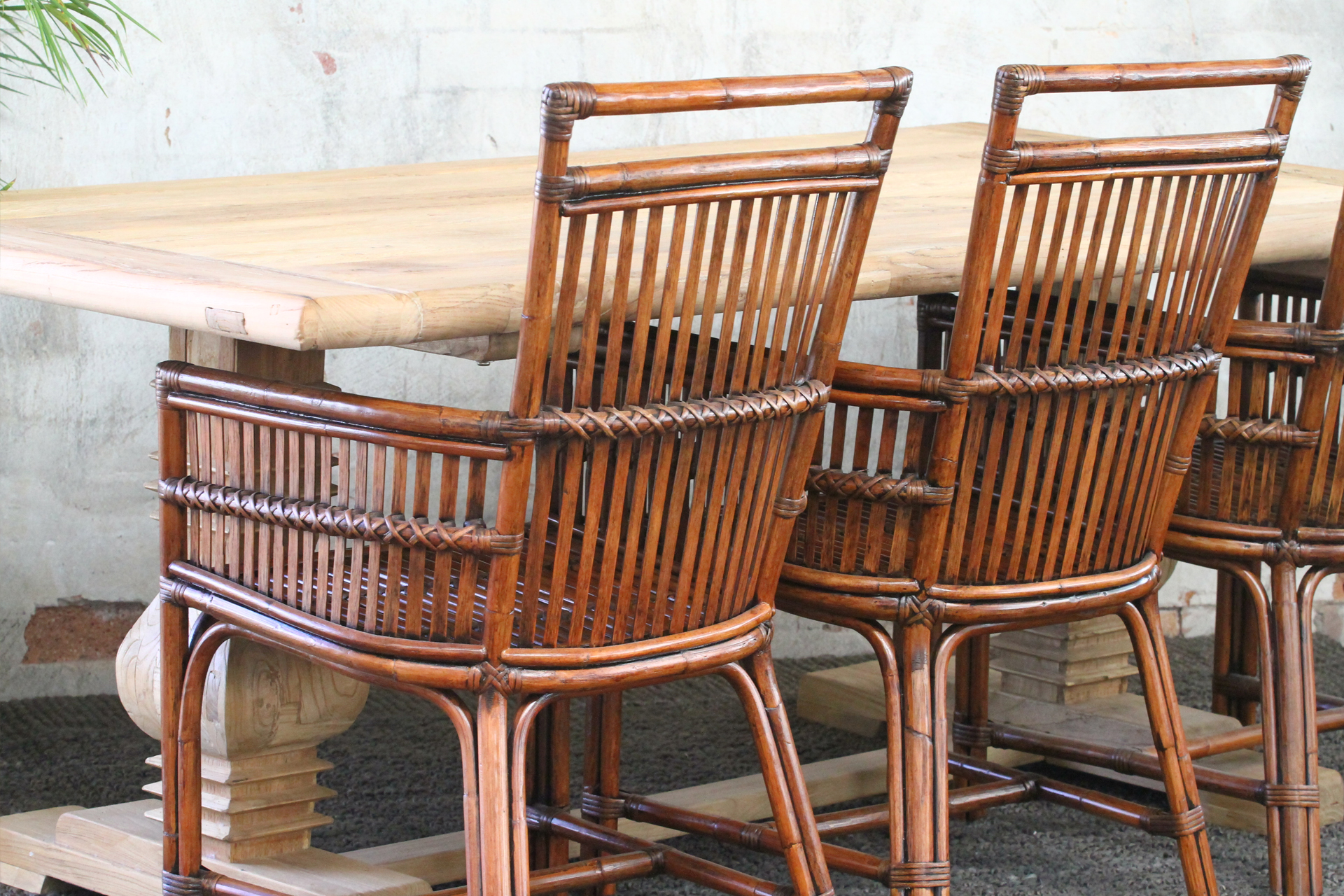 Rattan split cane dining chairs