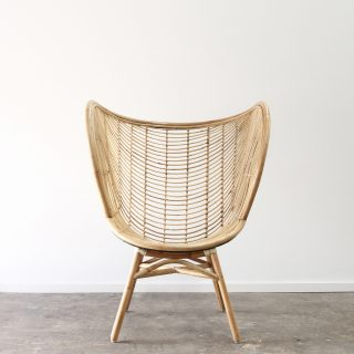 High back rattan wing chair