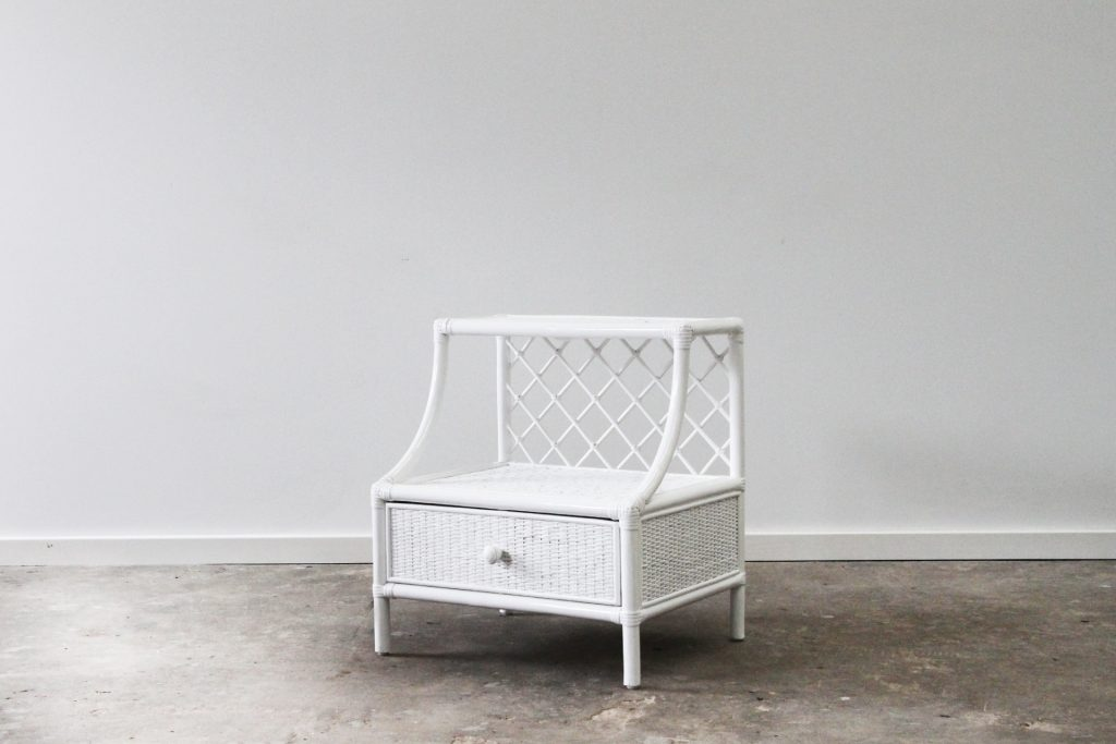 Santa Monica white cane bedside with drawer