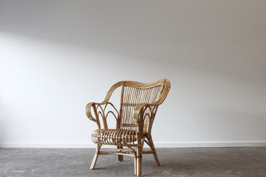 Split cane armchair