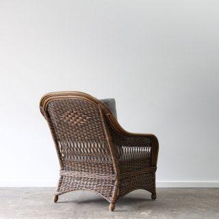 Wicker high back cane armchair
