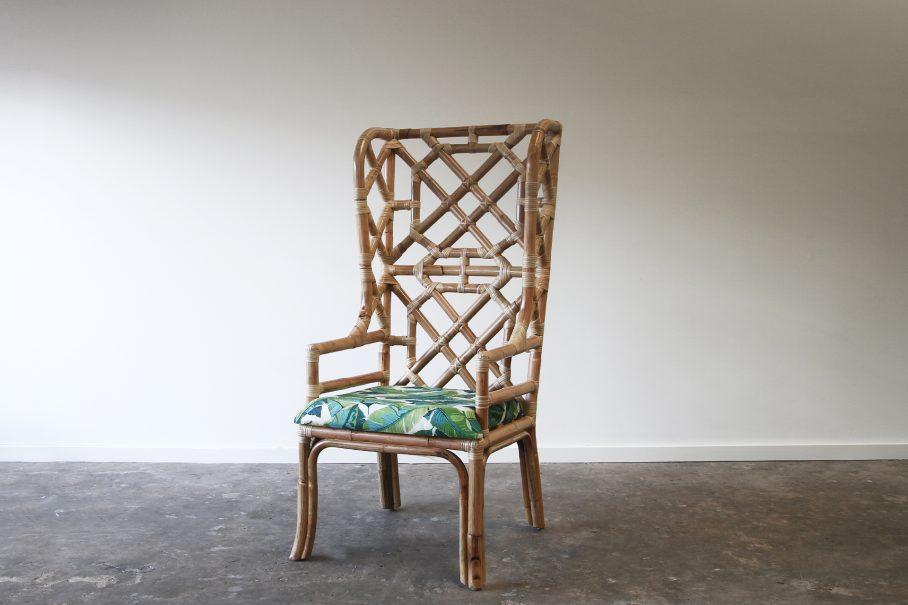 High back wing rattan armchair
