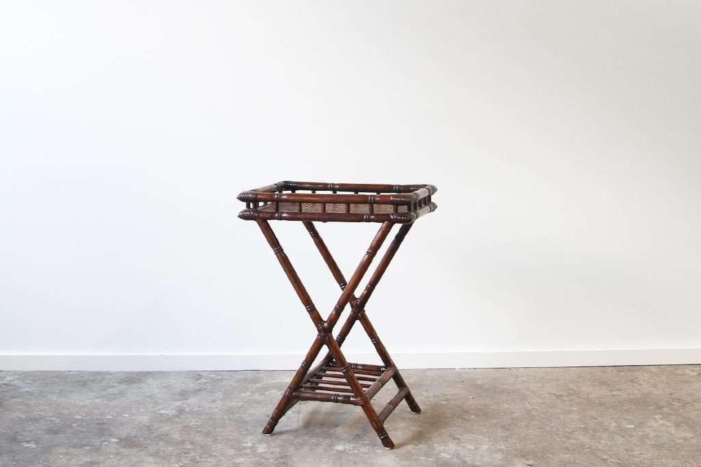 Carved bamboo tea tray