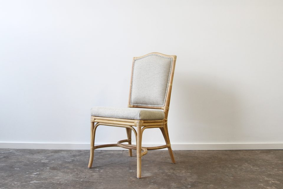 Rattan upholstered side chair