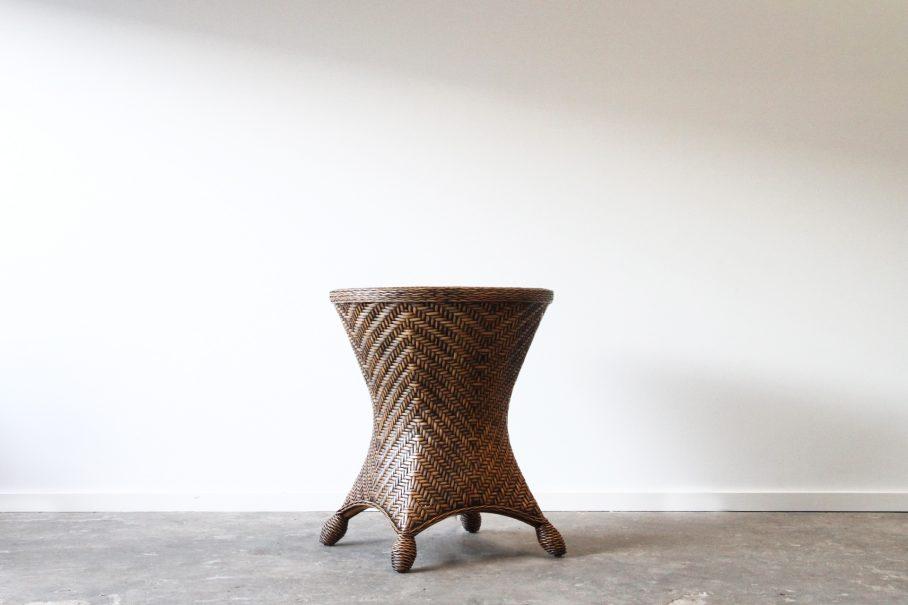 Rattan woven pedestal base