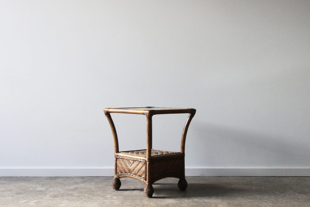 Rattan woven side table