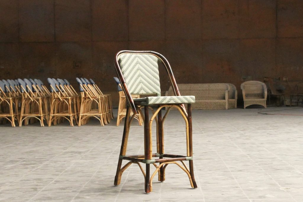 Rattan cafe style barstool