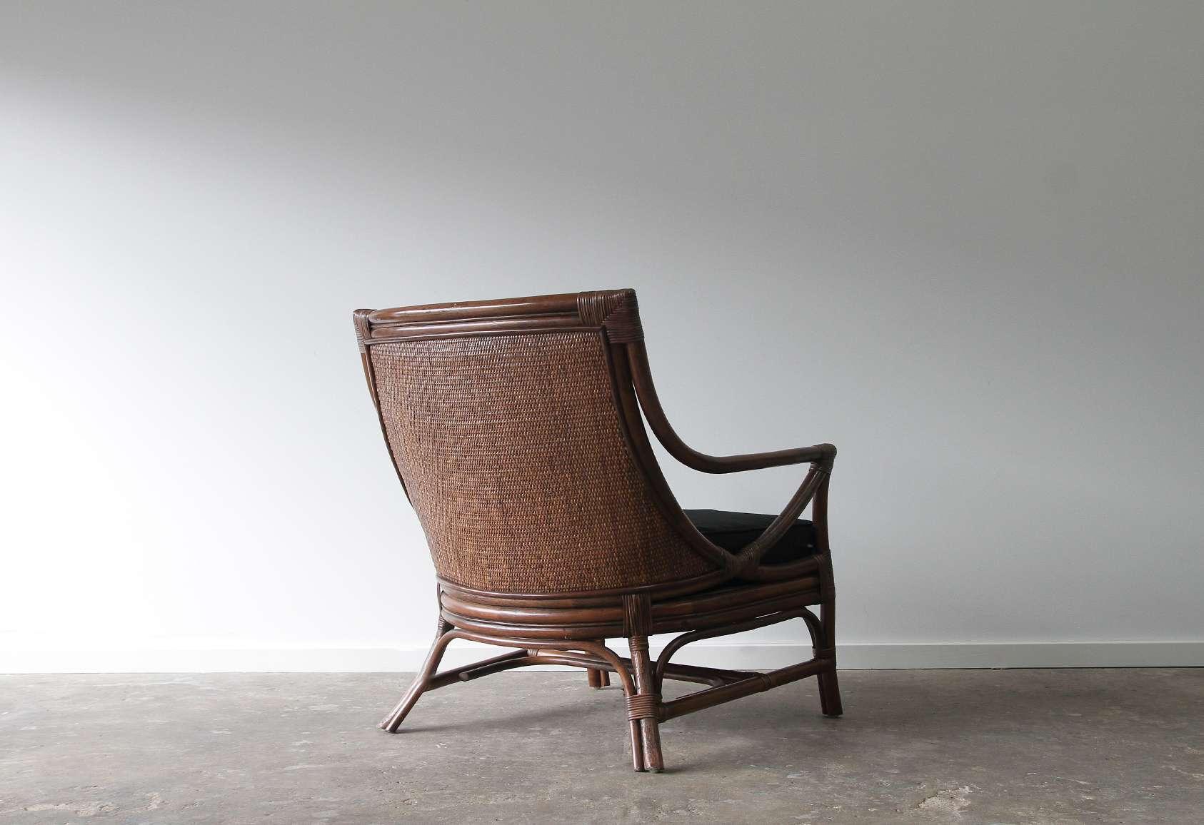 Rattan high back armchair