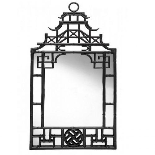 Chinese pagoda rattan mirror