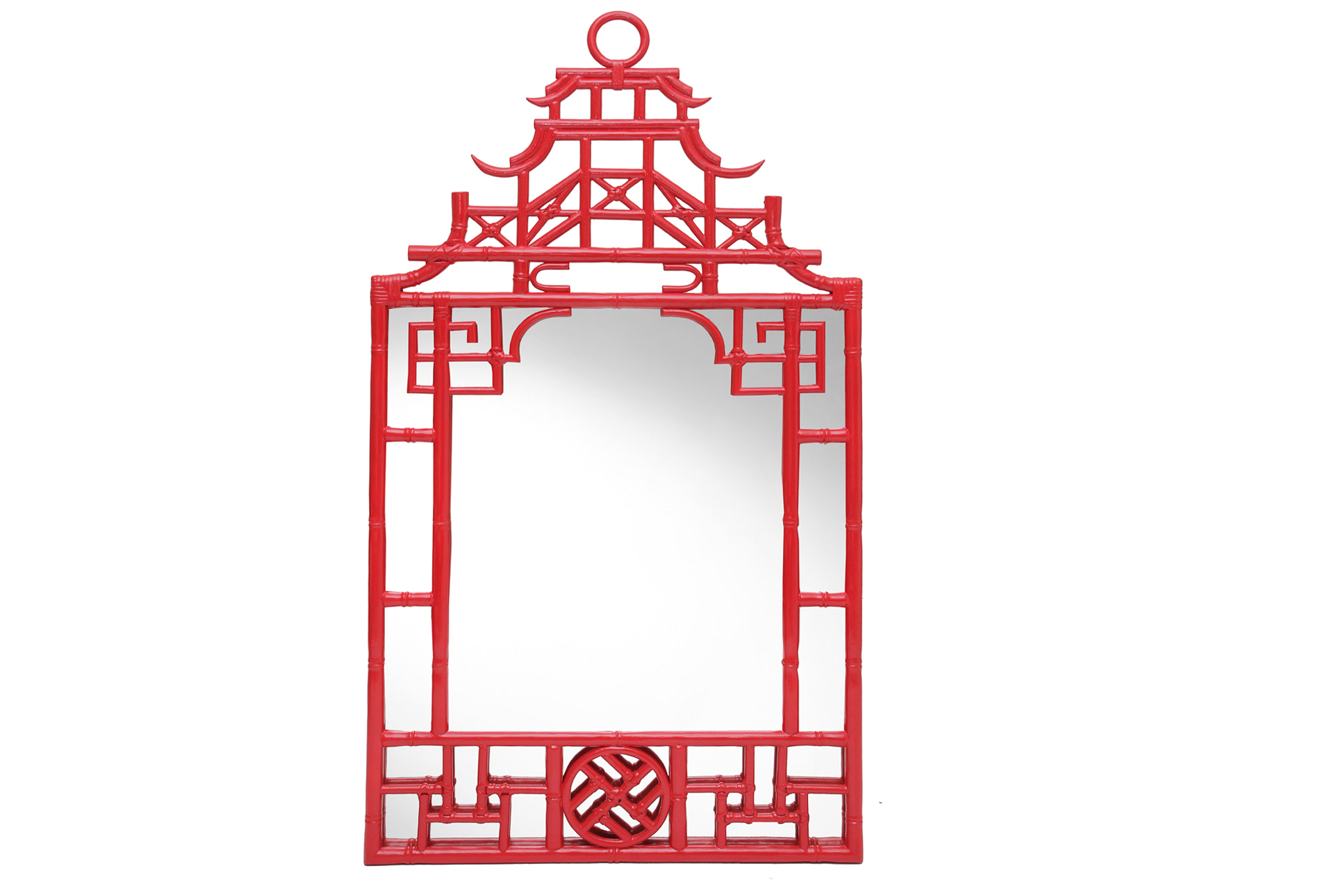 Red chinese Pagoda designer mirror