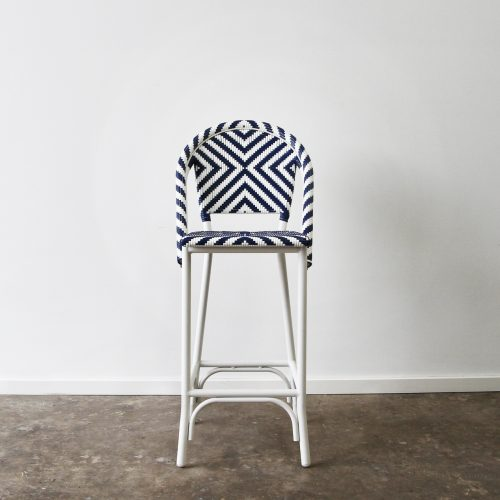 Outdoor wicker and aluminium barstool