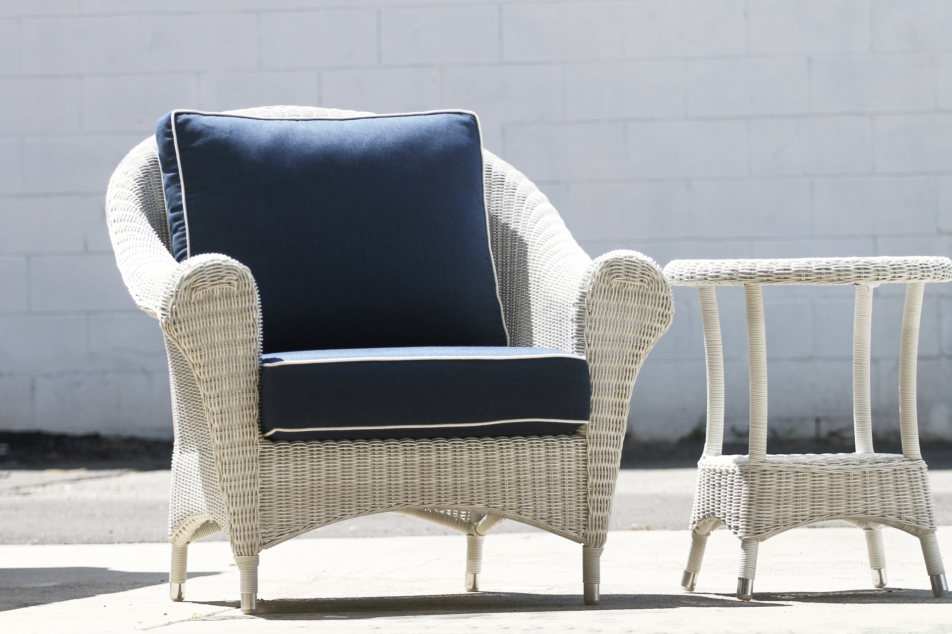 Hampshire Armchair New White Wash Rattan Commercial