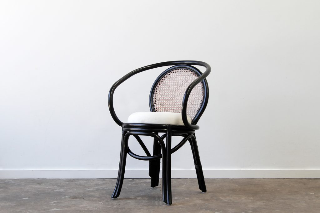 Cuban Rattan black dining chair