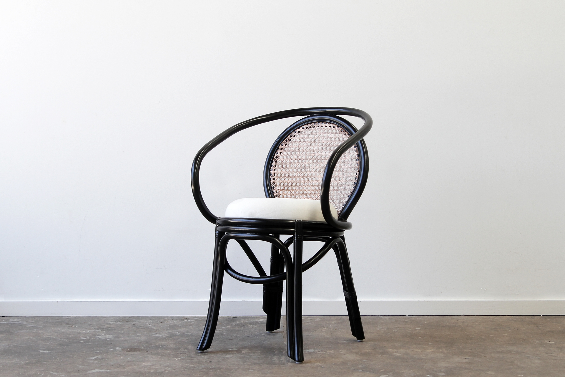 Cuban Rattan black dining chair